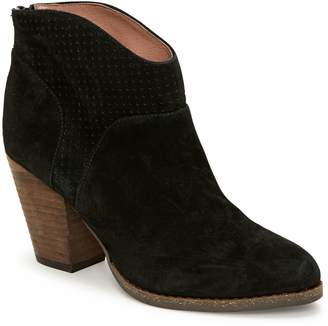 Tucker Adam Pull-On Perforated Suede Booties -Cayenne