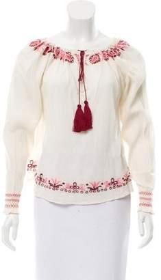 LoveShackFancy Long Sleeve Embroidered Top