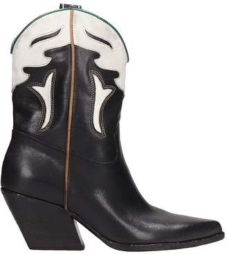 Elena Iachi Tex Black White Leather Ankle Boots