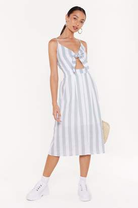 Nasty Gal Womens Straight To The Point Striped Tie Dress - Green - 4, Green
