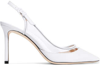 Jimmy Choo Erin 85 Leather And Pvc Slingback Pumps