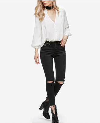 Free People Payton Studded Ripped Skinny Jeans $128 thestylecure.com