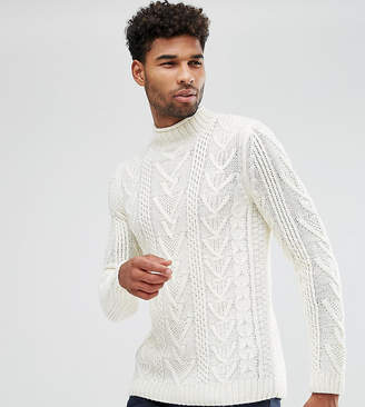 Asos Tall Cable Knit Jumper In Oatmeal