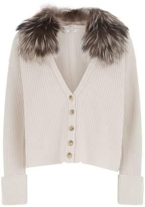 Peserico Fox Fur Collar Cardigan