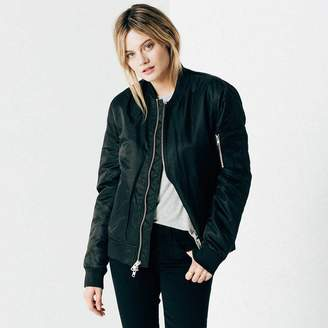 DSTLD Womens Nylon Bomber Jacket with Silver Zippers in Black