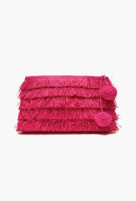 Mar y Sol Pink Sasha Fringe Clutch $110 thestylecure.com