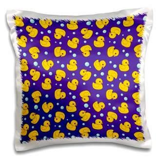 3dRose Cute Rubber Duckie pattern Yellow ducks on purple navy blue Kawaii ducky duck - Duckies and bubbles - Pillow Case, 16 by 16-inch