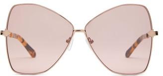Karen Walker Queen Butterfly Frame Metal Sunglasses - Womens - Brown Multi