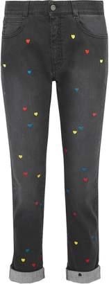 Stella McCartney The Skinny Boyfriend Embroidered Mid-rise Slim-leg Jeans