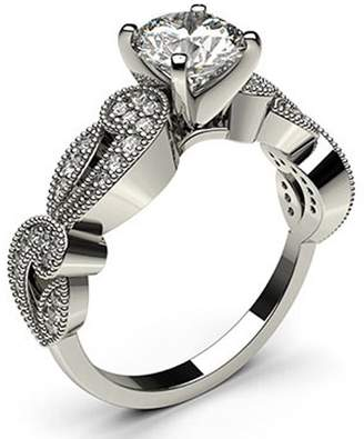 Peacock Jewels 18K Wite Gold , Round Cut 4 Prong Setting Studded Engagement Wedding Ring Size - 7.75