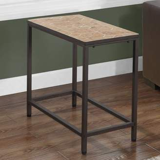 Monarch Specialties Tile Top Accent Side Table, Terracotta/Hammered Brown