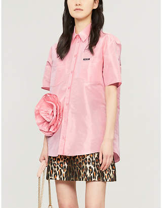 031426bf47e9cf Miu Miu Floral-embellished silk-taffeta shirt