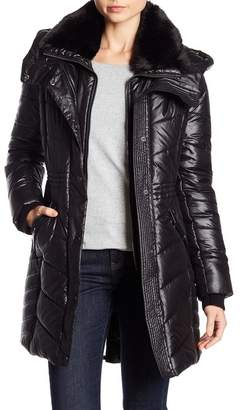 French Connection Faux Fur Trim Collar Puffer Jacket w/ Hoodie