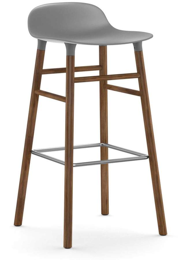 Normann Copenhagen - Form Barhocker 75 cm, Gestell Walnuss / Grau