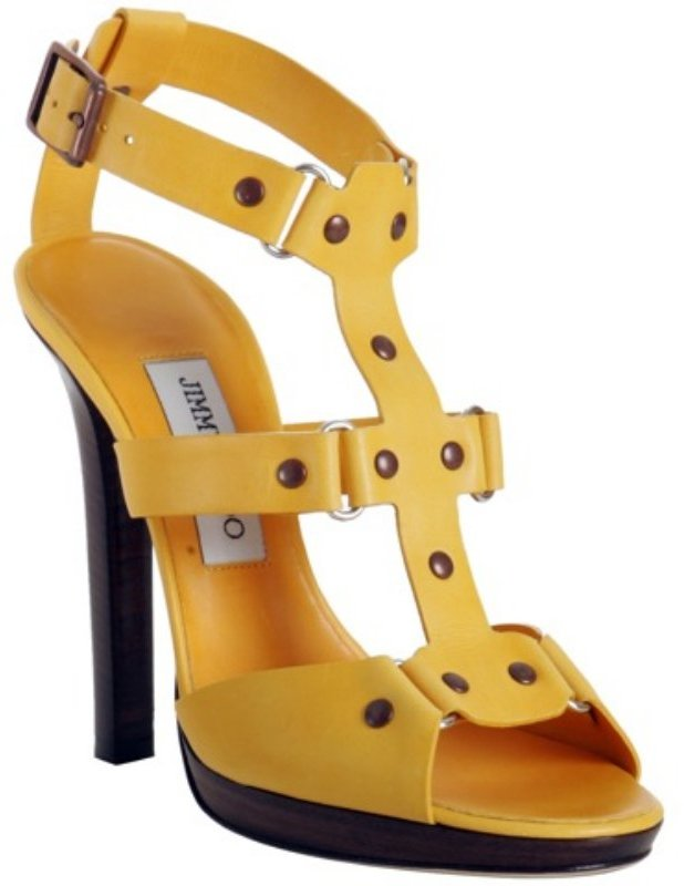 Jimmy Choo yellow leather 'Prize' platform t-strap sandals