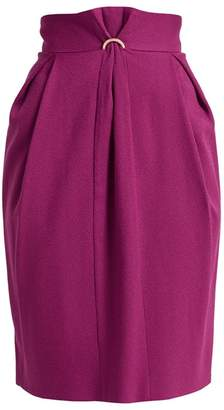 WtR - Fokine Purple Wool Blend High Waist Pencil Skirt