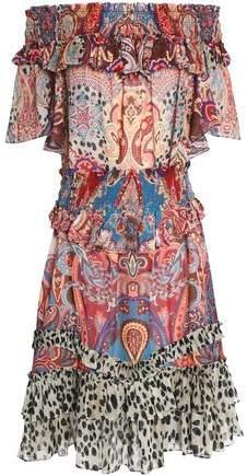 Off-The-Shoulder Shirred Printed Silk-Voile Dress