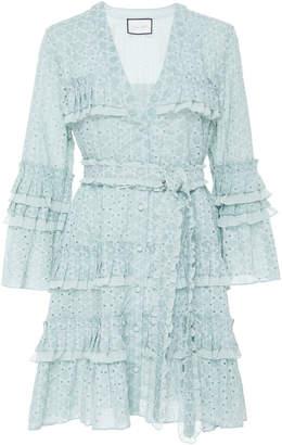 Alexis Audrea Ruffled Eyelet Cotton Mini Dress