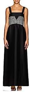 CFGOLDMAN Women's Corset-Detail Wool-Silk Gown - Black