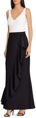 Lauren Ralph Lauren Ruffled Color-Block Gown