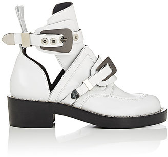 Balenciaga Women's Ceinture Leather Ankle Boots-WHITE $1,275 thestylecure.com