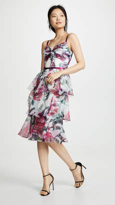 Marchesa Floral Organza Tiered Gown