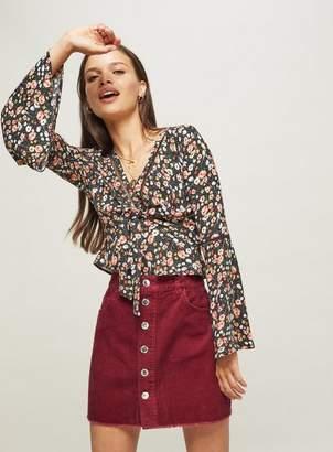 Miss Selfridge Petite burgundy chunky corduroy mini skirt