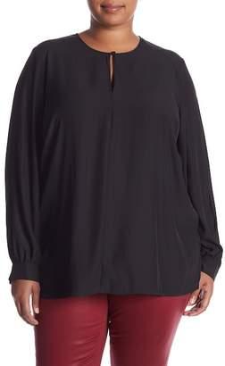 Seven7 Long Sleeve Keyhole Blouse (Plus Size)