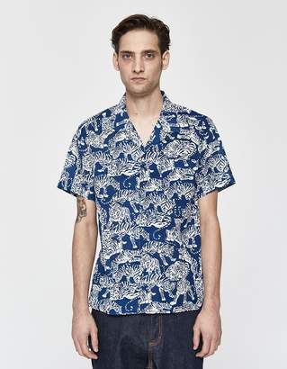 YMC Tiger Malick Vacation Shirt in Blue