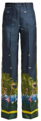 F.R.S – For Restless Sleepers F.r.s For Restless Sleepers - Zelos Tahitian Night Print Silk Twill Trousers - Womens - Blue Print
