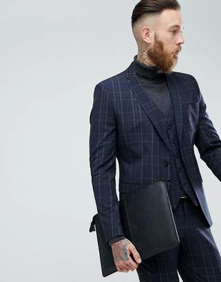 Selected Skinny Suit Jacket In Check