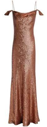 Rachel Zoe Cold-Shoulder Sequined Crepe Gown
