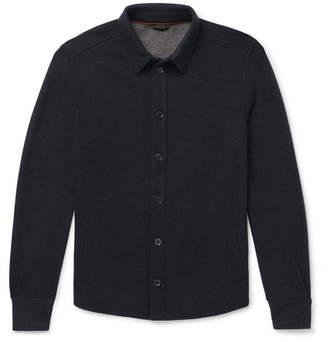 Loro Piana Suede-trimmed Melange Cashmere-blend Overshirt - Navy