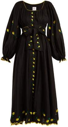 Gül Hürgel Gul Hurgel - Lemon Embroidered Puff Sleeved Linen Dress - Womens - Black Yellow