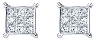 Affinity Diamond Jewelry Affinity 14K 1/2 cttw Princess-Cut Invisible-Se t Stud Earring