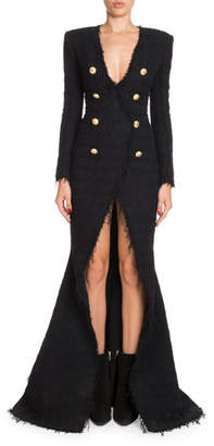 Balmain Deep-V Double-Breasted Front-Slit Tweed Evening Gown