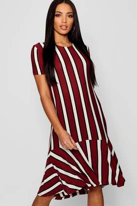 boohoo Wide Stripe Drop Hem Rib Shift Dress