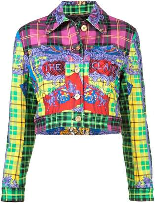 Versace cropped tartan jacket