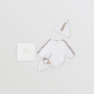 Burberry Check Cotton Three-piece Baby Gift Set , Size: 3M, White