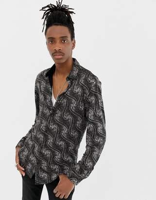Jaded London long sleeve velvet shirt in black with glitter print