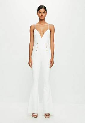 Missguided White Strappy Double Button Flared Playsuit