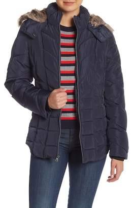 Nautica Faux Fur Hooded Short Puffer Jacket