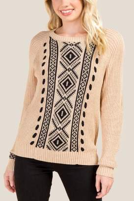 francesca's Tamra Whipstitch Sweater - Taupe