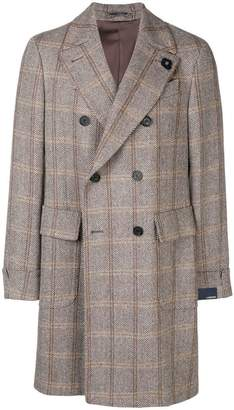 Lardini checked double-breasted coat