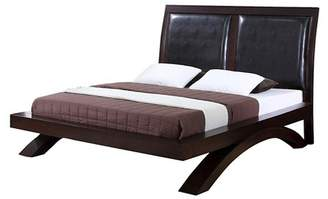 Picket House Furnishings Landon Platform Bed with Faux Leather Headboard King Espresso - Picket House Furnishings®