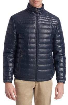 Saks Fifth Avenue COLLECTION Down-Filled Leather Puffer Jacket
