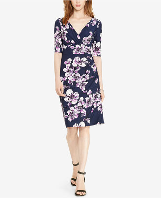 Lauren Ralph Lauren Floral-Print Faux-Wrap Dress $109 thestylecure.com