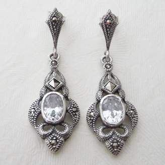 Katherine Swaine Silver Art Deco Inspired Marcasite Earrings