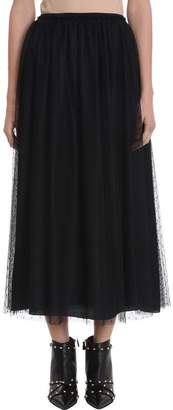 RED Valentino Pleated Point D'esprit Tulle Long Skirt