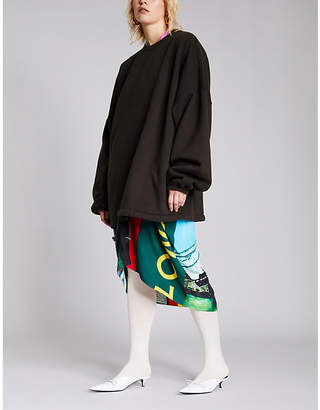 Balenciaga Ladies Black Logo-Embroidered Cotton-Jersey Sweatshirt
